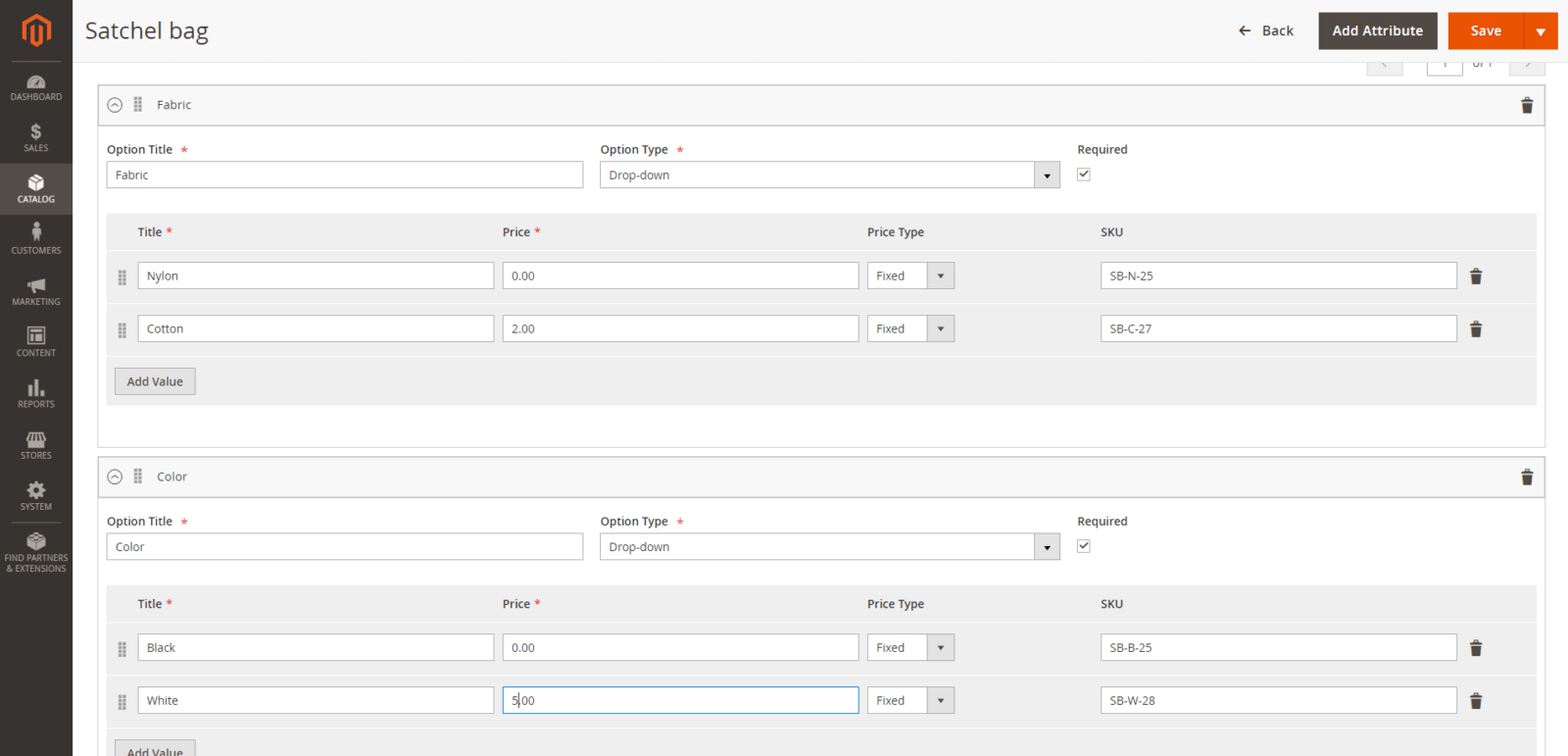 Magento 2 - customisable options in admin panel